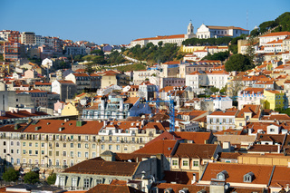 The residential houses on the hill in the  Pombaline Lower Town (Baixa). Lisbon. Portugal