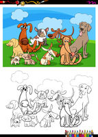 funny dogs characters group coloring book
