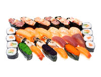 Different kinds of sushi roll isolated on white background. Japanese cuisiune.