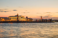 Spit of Vasilievsky Island in the summer evening