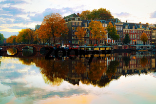 Amsterdam city view with canals