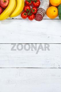 Obst und Gemüse Sammlung Lebensmittel Früchte essen kochen Zutaten Hochformat Textfreiraum von oben