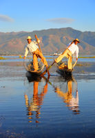 Traditional fishermen at Inle lake in Myanmar