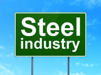 Manufacuring concept: Steel Industry on road sign background