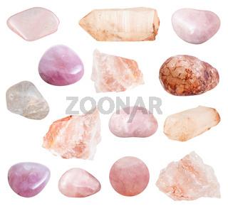 various Rose Quartz gemstones isolated