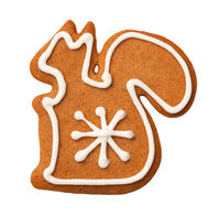 Gingerbread Squirrel Cookie Isolated on White Background