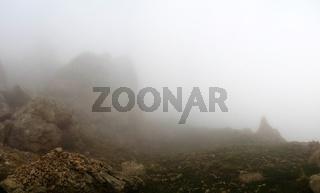 Panorama of Schalbus-Dag mountain in fog, Dagestan, Caucasus Russia