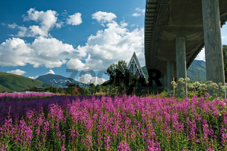 Arctic Cathedral and bridge in Tromso, Norway