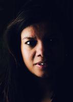Moody portrait of asian woman