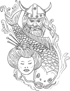 Viking Carp Geisha Head Black and White Drawing
