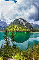 Green water, forest and mountains