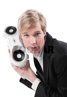 Young man with boombox