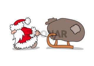 Der Weihnachtsmann zieht einen Schlitten