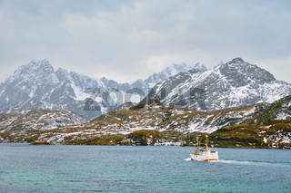Fishing ship in fjord in Norway