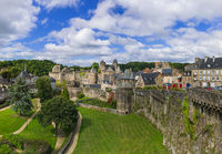 Panorama of town Fougeres in Brittany France