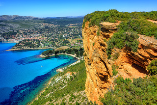 Cassis town and Cap Canaille rock, Provence, France
