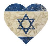 Heart shaped grunge vintage faded flag of Israel