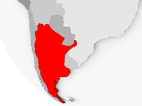Map of Argentina in red