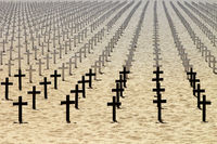 Honor to the dead soldiers on beach