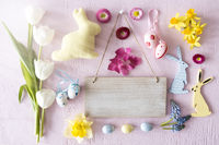 Sunny Easter Flat Lay With Flowers, Copy Space