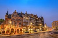 Brussels night city skyline at Coudenberg Street, Brussels, Belgium