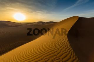 landscape in desert at sunset