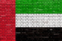 flag of United Arab Emirates painted on brick wall