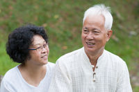 Mature Asian couple outdoor portrait.