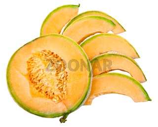 slices of ripe sicilian cantaloupe melon isolated