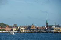 View of Helsingor or Elsinore from Oresund strait in Denmark