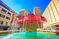 Rijeka square and fountain view
