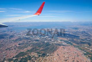 The sky view of the Lisboa outskirts. Lisboa. Portugal