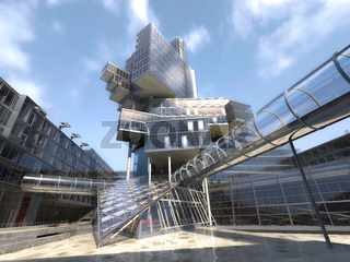 Very modern architectural building structure, made of glass and steel.