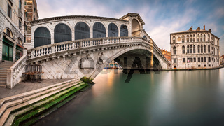 Panorama of Grand Canal and Rialto Bridge in the Morning, Venice, Italy