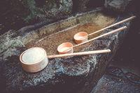 Purification fountain at a Shrine, Arashiyama, Kyoto, Japan