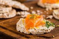Smoked salmon on rice bread toasts