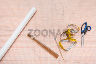 hand drawn clothing pattern on graph paper