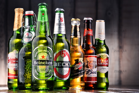 Bottles of assorted global beer brands