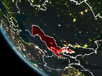Satellite view of Uzbekistan at night