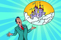 Confident businessman offers a fabulous castle in the sky