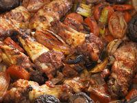 Tasty coq au vin in a pan