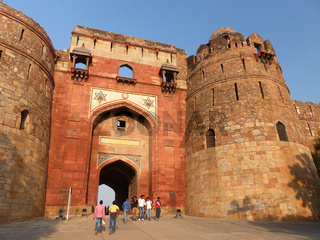People walking through Bara Darwaza, Big gate of Purana Qila, New Delhi, India