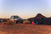 Merzouga, Morocco - February 25, 2016: Car outside desert tent