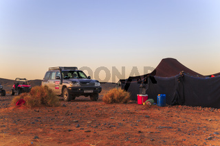 Merzouga, Morocco - February 25, 2016: Car outside desert tent