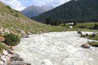 Jurtencamp (Alm) im oberen Tal Dzhety Oguz im Terskej Alatoo bei Karakol, Kirgisistan