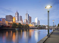 Melbourne Skyline Early Evening Illuminated