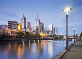 Melbourne Skyline Early Evening Illuminated