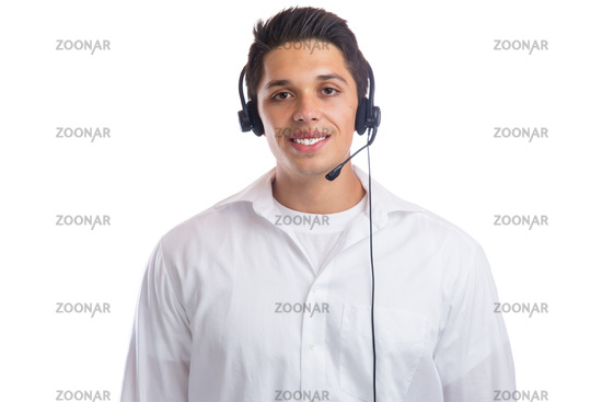 Junger Mann mit Headset Telefon Call Center Agent Portrait Business Freisteller