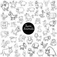 farm animal characters set color book