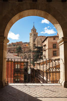 Albarracin, Aragon, Spain. Framed view of medieval city Albarracin in december.